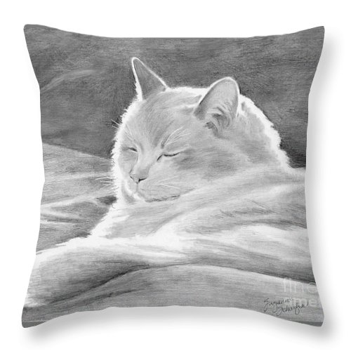 Cat Drawing Throw Pillow featuring the drawing Mid-morning Meditation by Suzanne Schaefer