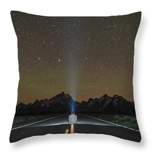 Grand Teton Throw Pillow featuring the photograph Middle Of The Road by Kristopher Schoenleber