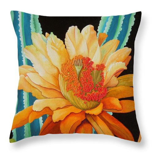 Acrylic Throw Pillow featuring the painting Midnight Bloom by Carol Sabo