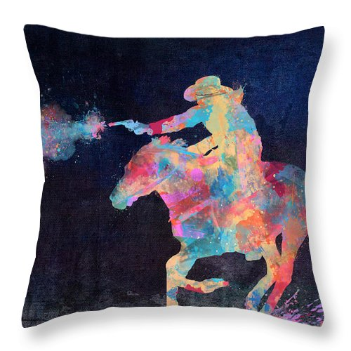 Cowgirl Throw Pillow featuring the digital art Midnight Cowgirls Ride Heaven Help The Fool Who Did Her Wrong by Nikki Marie Smith