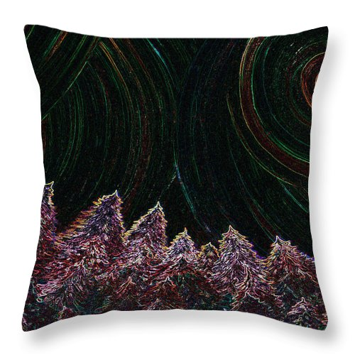 First Star Throw Pillow featuring the painting Midnight Forest By Jrr by First Star Art