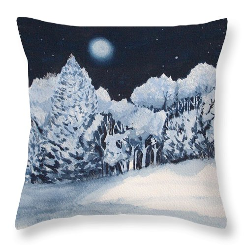 Sokolovich Throw Pillow featuring the painting Midnight Frost by Ann Sokolovich