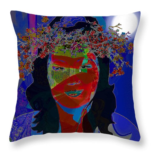 Comedienne Throw Pillow featuring the painting Midnight Margaret by Jann Paxton