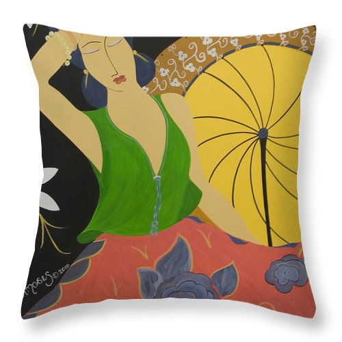 #female Throw Pillow featuring the painting Midnight Sun by Jacquelinemari