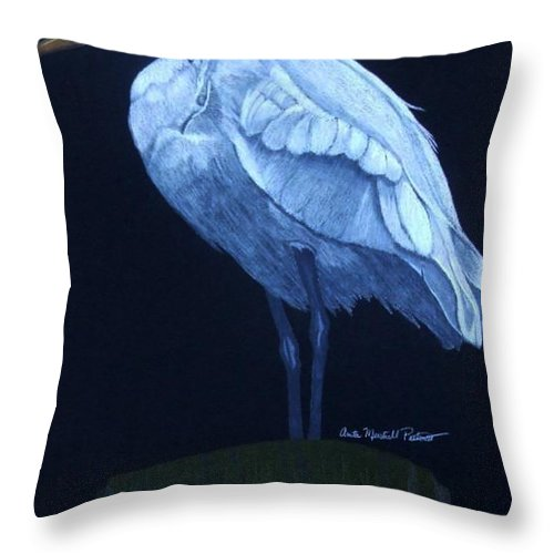 Egret Throw Pillow featuring the drawing Midnight Watch by Anita Putman