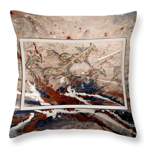 Western Abstract Throw Pillow featuring the painting Midnignt Run by Stacey Dykeman