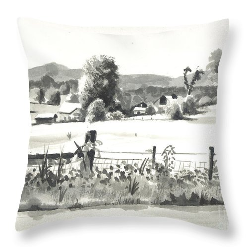 Midsummer View Out Route Jj  No I101 Throw Pillow featuring the painting Midsummer View Out Route Jj  No I101 by Kip DeVore