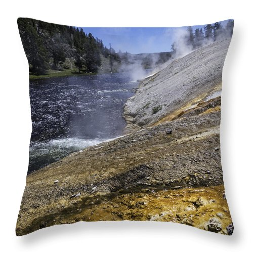 Midway Geyser Basin Throw Pillow featuring the photograph Midway Geyser Runoff by Carolyn Fox