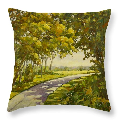 Midway Village Throw Pillow featuring the painting Midway Village Rockford Illinois by Ingrid Dohm