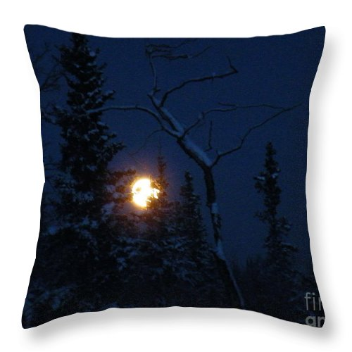 Midwinter Throw Pillow featuring the photograph Midwinter Moonrise by Brian Boyle
