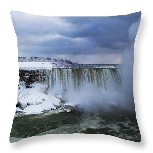 Niagara Throw Pillow featuring the photograph Mighty Cold Niagara by Barbara McMahon