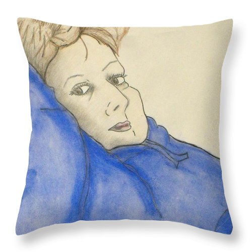 Woman Laying Back Throw Pillow featuring the mixed media Mikki In Blue by Catherine Ratliff