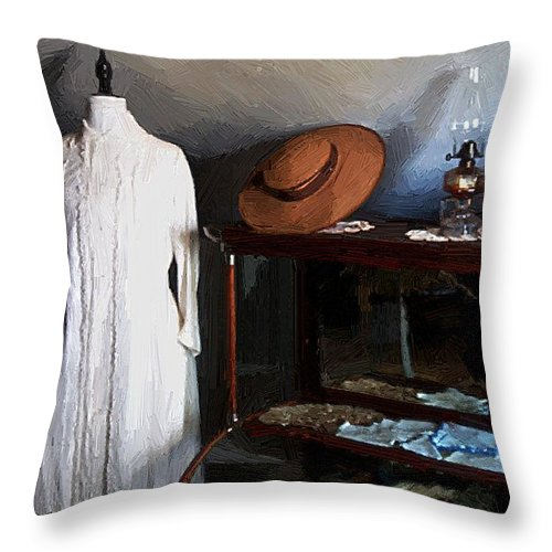 Fashion Throw Pillow featuring the painting Milady's Finery by RC DeWinter