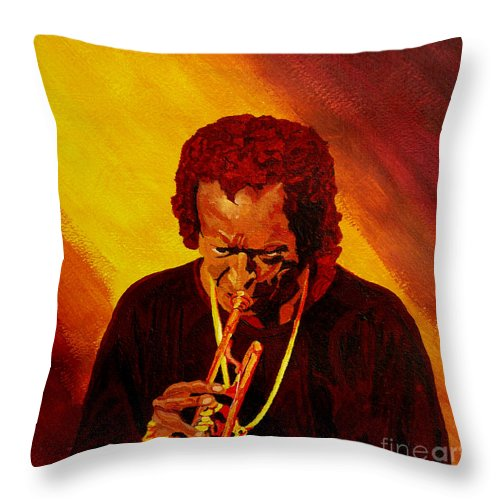 Miles Davis Throw Pillow featuring the painting Miles Davis Jazz Man by Anthony Dunphy