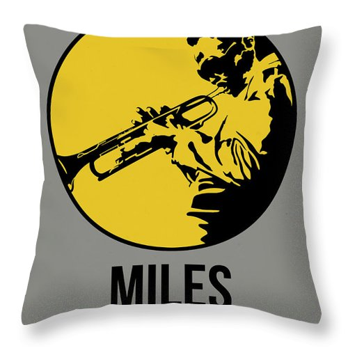 Music Throw Pillow featuring the digital art Miles Poster 3 by Naxart Studio