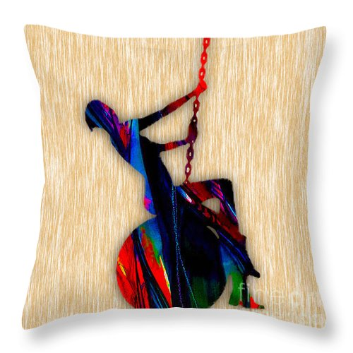 Miley Cyrus Throw Pillow featuring the mixed media Miley Cyrus Wrecking Ball by Marvin Blaine