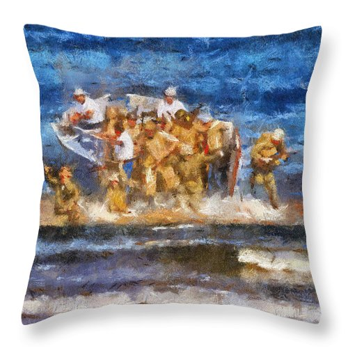 Us Navy Throw Pillow featuring the photograph Military Beachhead Landing Photo Art by Thomas Woolworth