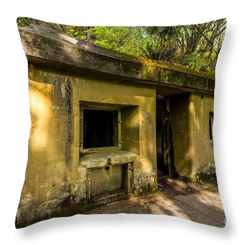 Bunker Throw Pillow featuring the photograph Military Bunker - Battery Russell - Ft. Stevens Oregon by Gary Whitton