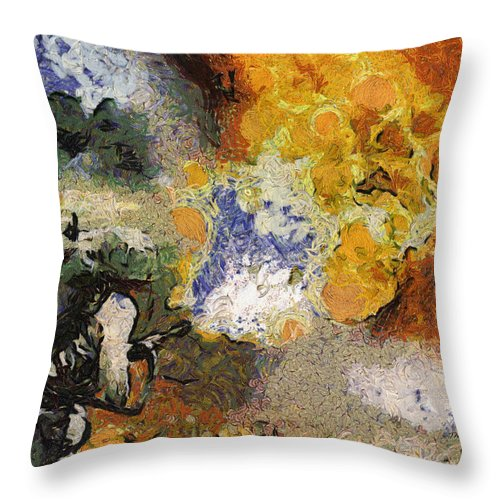 Usmc Throw Pillow featuring the photograph Military Flame Thrower Photo Art 02 by Thomas Woolworth