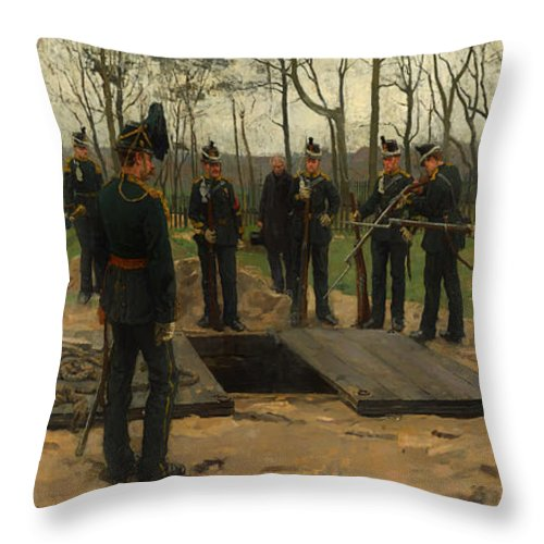 Painting Throw Pillow featuring the painting Military Funeral by Mountain Dreams