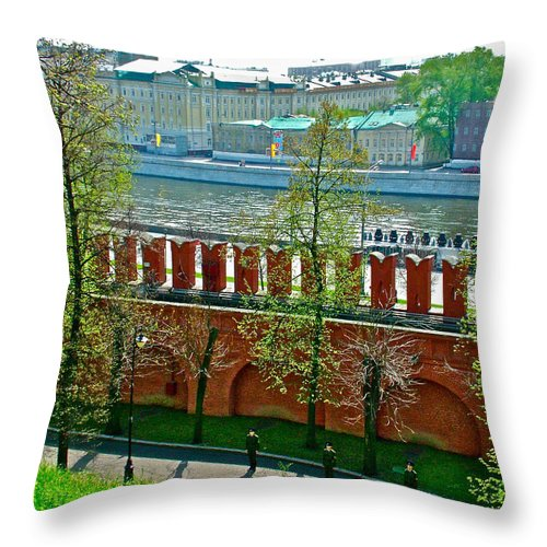 Military Parade Practice Inside The Kremlin Wall In Moscow Throw Pillow featuring the photograph Military Parade Practice Inside Kremlin Walls In Moscow-russia by Ruth Hager