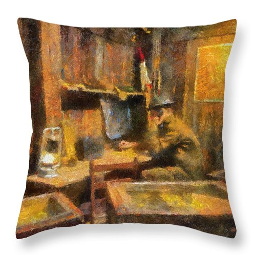 Us Army Throw Pillow featuring the photograph Military Ww I Command Post Photo Art 02 by Thomas Woolworth