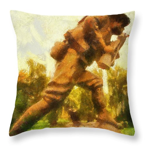 Us Army Throw Pillow featuring the photograph Military Ww I Doughboy 01 Photo Art by Thomas Woolworth