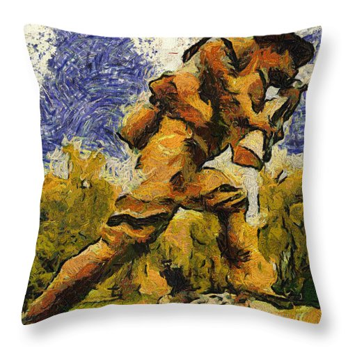 Us Army Throw Pillow featuring the photograph Military Ww I Doughboy 02 Photo Art by Thomas Woolworth