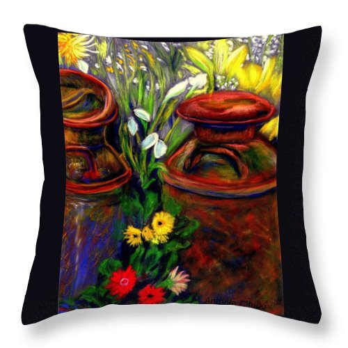 Milk Cans Throw Pillow featuring the pastel Milk Cans At Flower Show Sold by Antonia Citrino