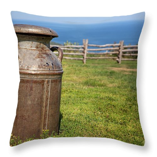Milk Throw Pillow featuring the photograph Milk Churn by Jane Rix