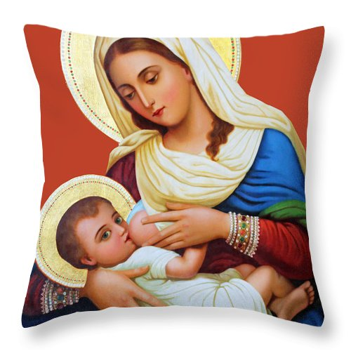 Milk Throw Pillow featuring the painting Milk Grotto Icon by Munir Alawi