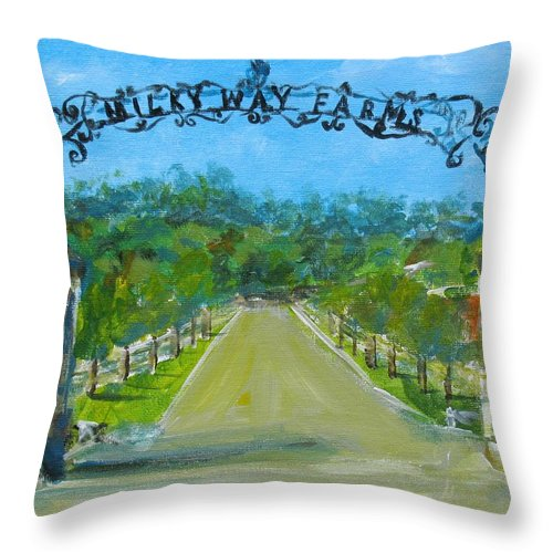 Milky Throw Pillow featuring the painting Milky Way Farm Entrance by Susan Elizabeth Jones