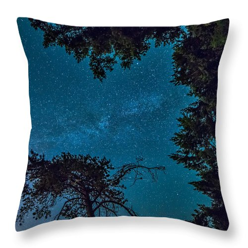 Beautiful Throw Pillow featuring the photograph Milky Way Framed Trees by James Wheeler