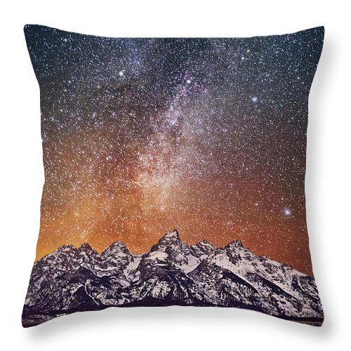 Tranquility Throw Pillow featuring the photograph Milky Way Over Grand Teton by Chen Su