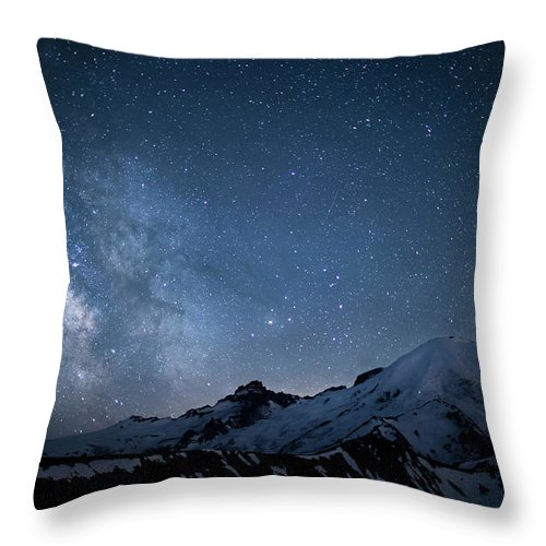Scenics Throw Pillow featuring the photograph Milky Way Over Mount Rainier by Ed Leckert