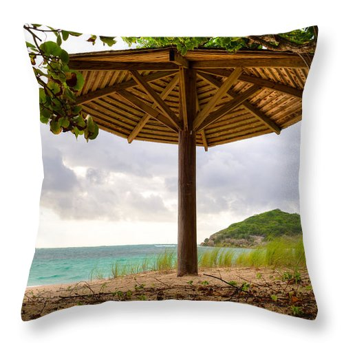 Halfmoon Bay Throw Pillow featuring the photograph Mill Reef Beach Hut by Ferry Zievinger