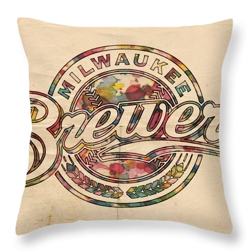 Milwaukee Brewers Throw Pillow featuring the painting Milwaukee Brewers Poster Vintage by Florian Rodarte