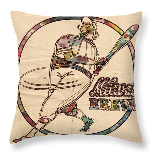 Milwaukee Brewers Throw Pillow featuring the painting Milwaukee Brewers Vintage Art by Florian Rodarte