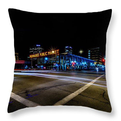 Downtown Throw Pillow featuring the photograph Milwaukee Public Market by Randy Scherkenbach
