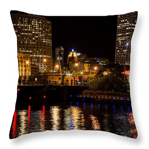 St. Paul Street Throw Pillow featuring the photograph Milwaukee River And Downtown Skyline by Susan McMenamin