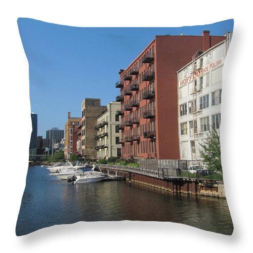 Milwaukee Throw Pillow featuring the photograph Milwaukee River Architechture 1 by Anita Burgermeister
