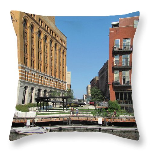 Milwaukee Throw Pillow featuring the photograph Milwaukee River Architecture 5 by Anita Burgermeister