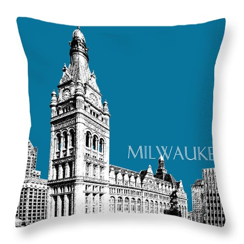 Architecture Throw Pillow featuring the digital art Milwaukee Skyline City Hall - Steel by DB Artist