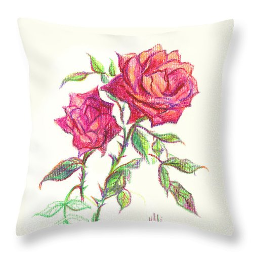 Nature Throw Pillow featuring the painting Minature Red Rose by Kip DeVore