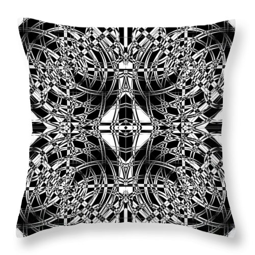 Abstract Throw Pillow featuring the digital art B W Sq 10 by Mike McGlothlen