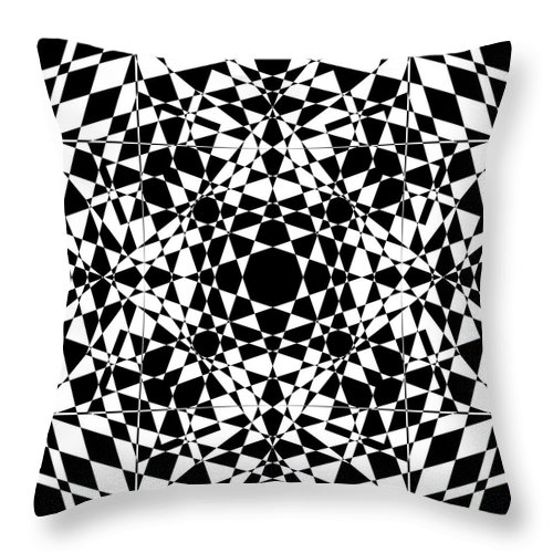 Abstract Throw Pillow featuring the digital art B W Sq 2 by Mike McGlothlen