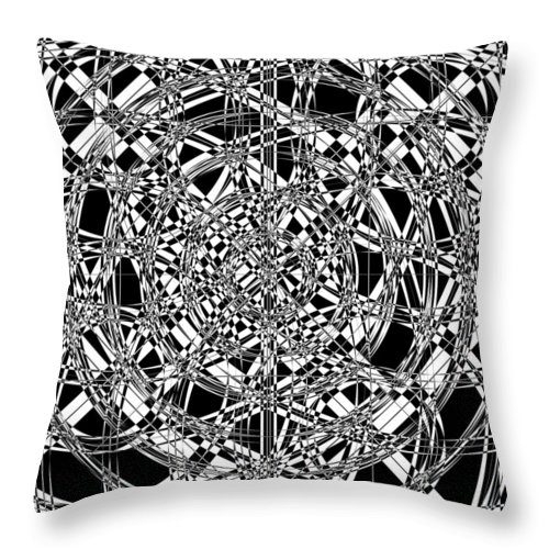 Abstract Throw Pillow featuring the digital art B W Sq 7 by Mike McGlothlen