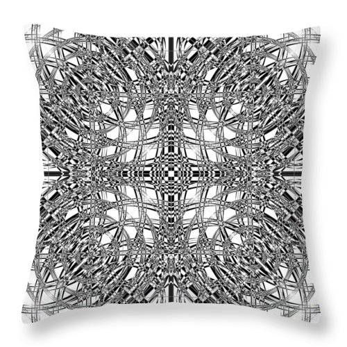 Abstract Throw Pillow featuring the digital art B W Sq 9 by Mike McGlothlen