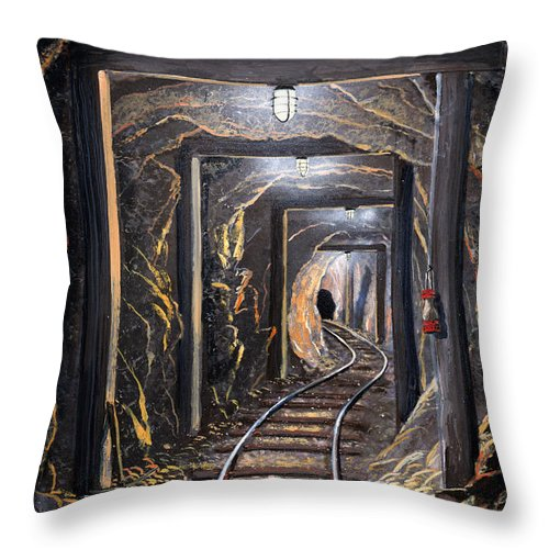 Mural Throw Pillow featuring the painting Mine Shaft Mural by Frank Wilson