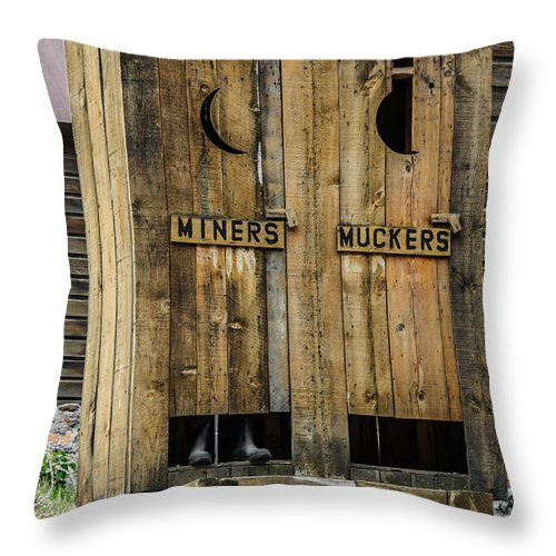Bathroom Throw Pillow featuring the photograph Miners And Muckers Outhouse by Sue Smith